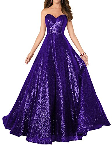 2019 Strapless Sequined Prom Party Dress for Women A Line Empire Waist Sweetheart Neck Formal Evening Gown Floor Length Elegant Costume SHPD41-S Red Size 4