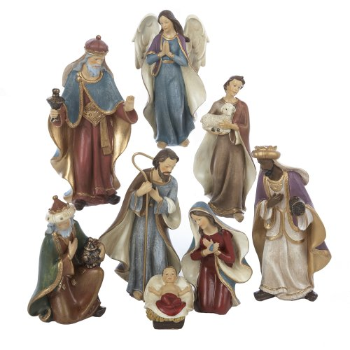 Kurt adler resin nativity figurine set inch of