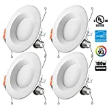 Genitronics 5/6 inch Dimmable LED Recessed Lighting Fixture,15W(100w Replacement) 1100 Lumens(CRI93)Neutral White 4000k,LED Downlight Retrofit Kit,ENERGY STAR Ul-listed,pack of 4 …