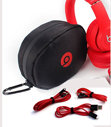 Headphone Soft Case for Beats Solo HD with 3 Cables 1 Angle Male-to-Male, 1 Male-to-Female Extension Chord 1 Micro USB Charger Cable and 1 Carabiner Clip.BuyGeneral.