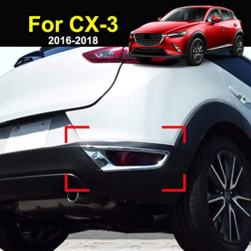 For Mazda CX-3 2016 2017 2018 Chrome Rear Tail Fog Light Foglight Lamp Cover Trim Reflector Bumper Frame Bezel Molding Garnish Surround Protector Decoration Car Styling
