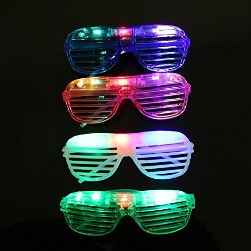 Lvnv Toys@ Kids/Adult Flashing LED Multi Color 'Slotted Shutter' Light Up Show Party Favor Toy Glasses (Colors May Vary)