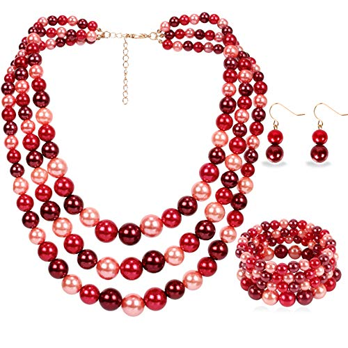 - LuckyHouse Faux Pearl Strands Jewelry Sets for Women Mix Red Include Necklace Bracelet and Earrings Set ...