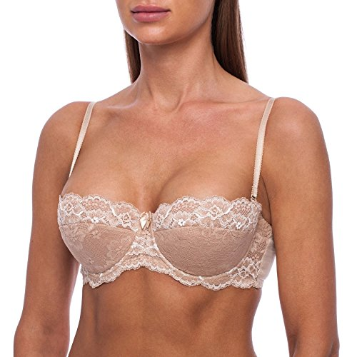frugue Women's Strapless Pushup Bandeau Lace Sexy Bra Beige 34 A