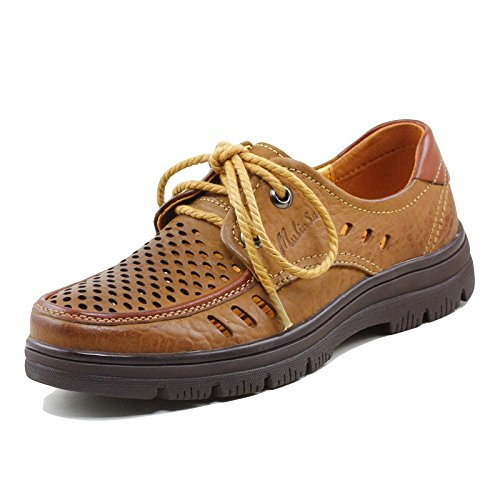 Casual da Uomo Estate Business Casual Scarpe Stringate in Pelle Color Giallo con Punta Arrotondata E Infradito per Gli Uomini Yellow