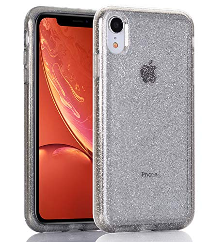 BAISRKE Clear Glitter Case for iPhone XR, Hybrid Heavy Duty Protection Case Hard Plastic & Soft TPU Sturdy Shockproof Armor High Impact Resistant Cover for iPhone XR [Black Glitter]