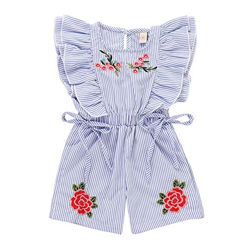 - Toddler Baby Girls Blue Striped Ruffle Sleeveless Embroidered Rose Bow Elastic Waist Romper Jumpsuit Sets