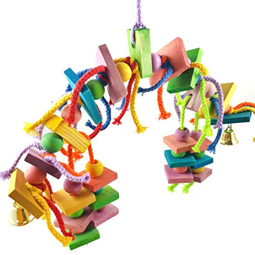 Bird Swing Toys Natural Colorful Knots Block Parrot Chewing Toys Bird Perch for African Grey Cockatiels Parakeets,Small and Medium Birds by UBird Toy