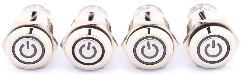 voyant rouge Fydun Interrupteur /à bouton-poussoir /à verrouillage Interrupteur /à LED en m/étal Couvercle /étanche avec symbole dalimentation 16mm 12V 1NO 1NC Prise de connecteur de fil