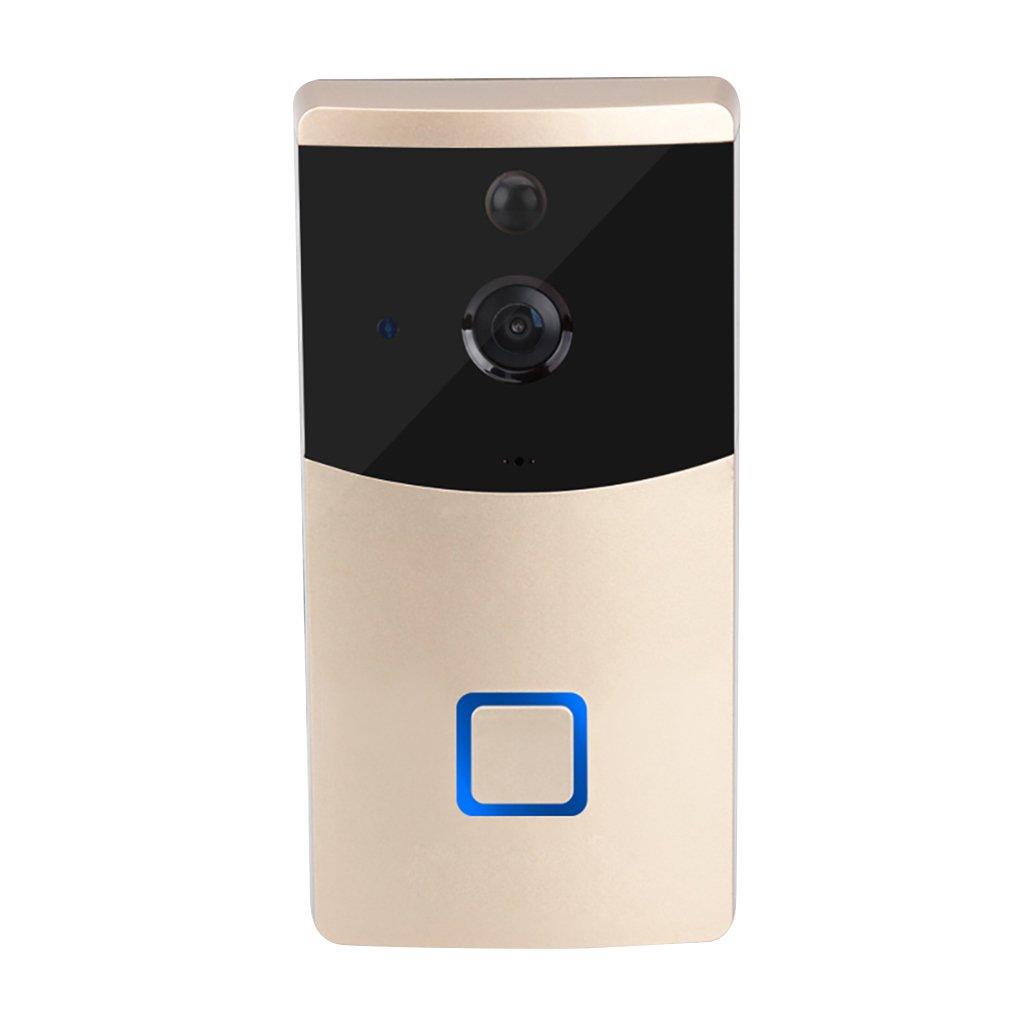Providethebest DANMINI WF05 Timbre de la Puerta 166 ° Visual HD 720P IR WiFi de Intercomunicación Video sin Hilos de la Alarma teledirigida Timbre de la Puerta Oro