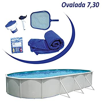 Piscina desmontable acero Mallorca ovalada de 7,3x3,66m (Kit completo)