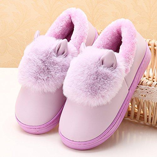 LaxBa Femmes Hommes chauds dhiver Chaussons peluche antiglisse intérieur Cotton-Padded violet Chaussures Slipper42/43 (recommandé 41/42 lusure)