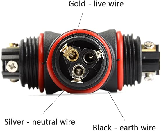 10.5 mm ATPWONZ T Forma Caja de Empalmes Prueba de Agua Electricos de Interior de 3 Puertos PVC IP68 Cable de Di/ámetro /Ø5mm Negro