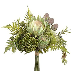 "15.5"" Protea, Leucadendron & Sedum Silk Flower Bouquet -Green/Brown (Pack of 4) 59"