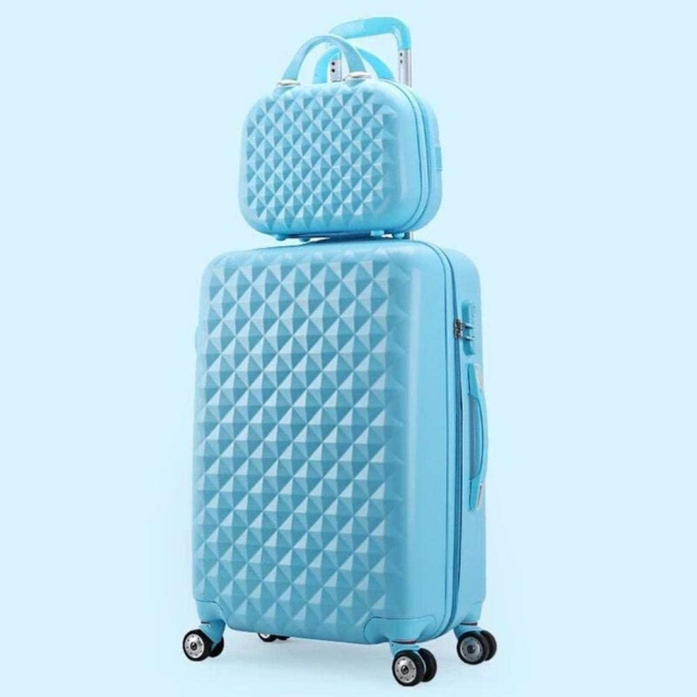 LWJ Rolling Luggage Set Women Trolley Suitcase Girls Pink Spinner Carry on Luggage Travel Bag vs Cosmetic Bag,Blue(Set),20