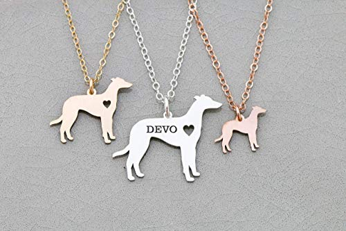- Greyhound Dog Necklace - IBD - Racing - Custom Engraved - Pendant Size Options - 935 Sterling Silver 14K Rose Gold Filled Charm - Fast 1 Day Production