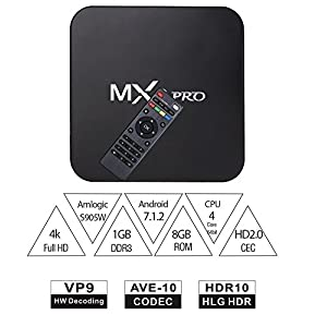 YoungGo MX PRO 4K Android 7.1 TV Box 1GB+8GB Supporting 4K (60Hz) Full HD /H.265 /WiFi with Wireless Keyboard