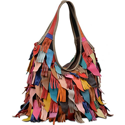 YALUXE Women's Soft Lambskin Leather Multicolor Tote Crossbody Shoulder Bag Tassel Fringe -