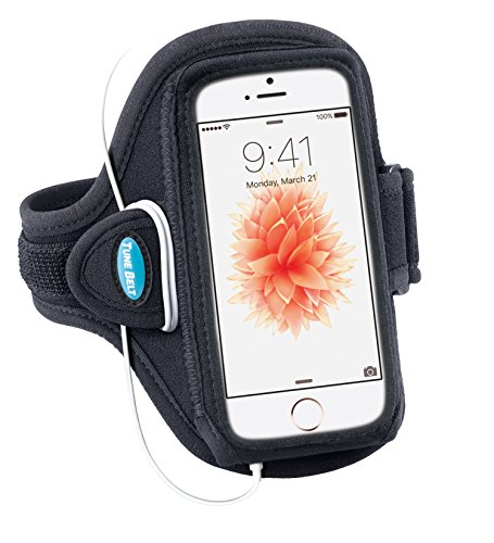 Tune Belt Armband Compatible With iPhone SE 5 5s 5c & iPod touch 5th 6th Generation - For Running & Working Out - Sweat-Resistant AB87 [Black]