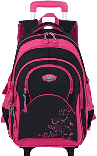Coofit Rolling Backpack Kids School Backpack with Wheels Laptop Backpack Roller Backpack (Roller School)