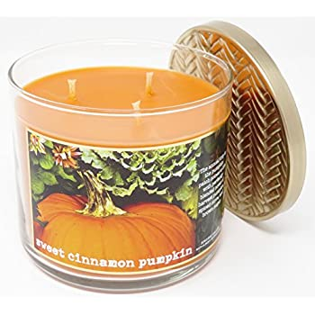 Bath & Body Works Home Sweet Cinnamon Pumpkin Scented 3 Wick 14.5 Ounce Candle Limited Edition 2017