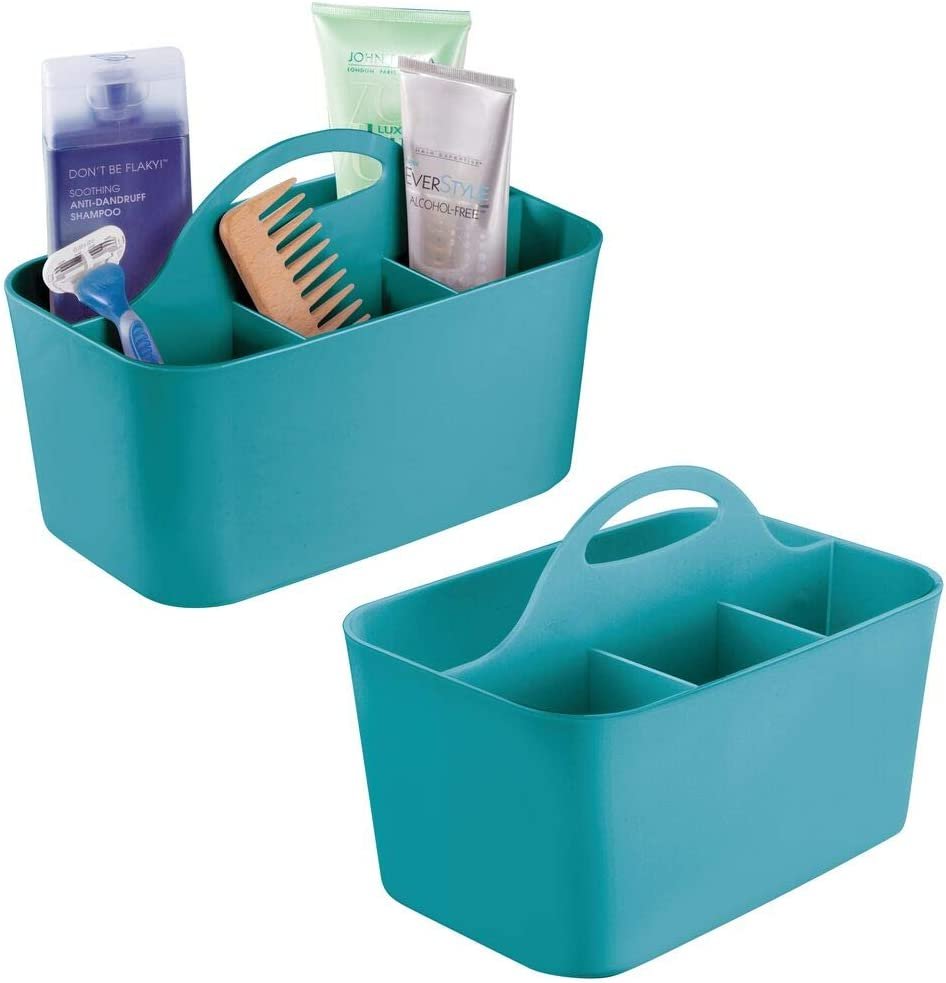 mDesign Plastic Portable Storage Organizer Caddy Tote - Divided Basket Bin with Handle for Bathroom, Dorm Room - Holds Hand Soap, Body Wash, Shampoo, Conditioner, Lotion - Small, 2 Pack - Teal Blue