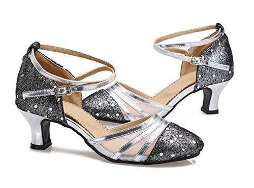 Dayiss Elegant Damen Latein Tanzschuhe Leder Abendschuhe Brautschuhe mit Absatz Silber