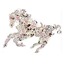Winhappyhome Horse Art Texture Wall Stickers for Bedroom Living Room TV Backdrop Removable Decor Decals