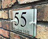 ThedisplayDeal Modern Sign Plaques, 8''x5''x1'' Size Glass Color Acrylic Front and Brushed Aluminum Background Double Panel - Contemporary House Number Address (Rectangular Glass Acrylic)