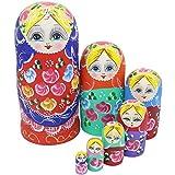 Winterworm® Beautiful Set of 7 Cutie Nesting Dolls Matryoshka Madness Russian Doll Wooden Wishing Dolls Toy