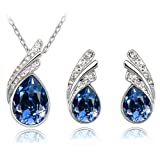 Stylish Jewellery Set Dark Blue Crystal Wings Studs Earrings & Necklace S289