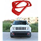 Dwindish Red ABS Front Fog Light Chrome Cover Trim for Jeep Renegade 2015 Up