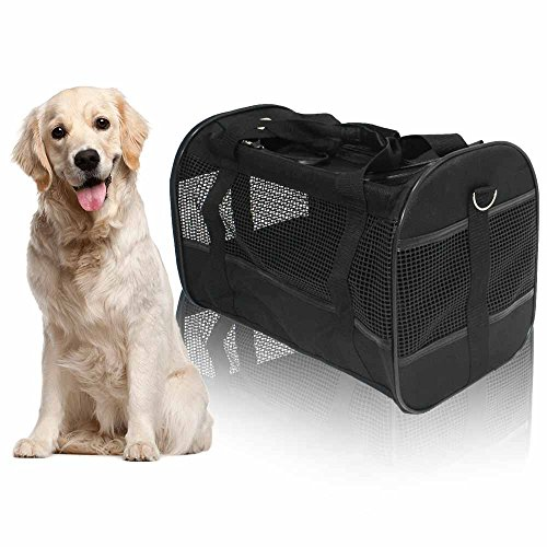 AGOOL Pet Carrier Luxury Large Soft Sided Foldable Pet Travel Tote with Removable Airline Approved Fleece Bedding for for Puppies, Cats and Pets - 19x11x12 inch (Black) ()