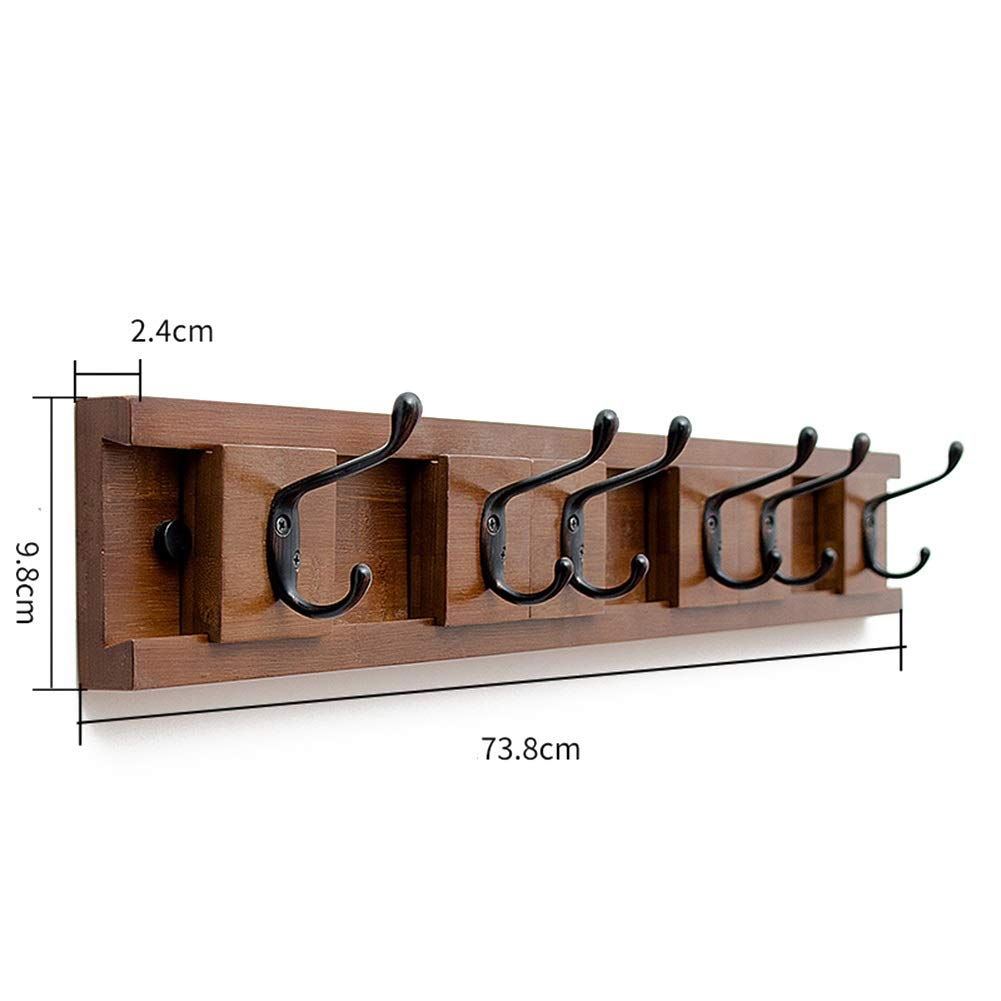 Brown 6 Tingting-Wall Mounted Coat Rack It Can Move Hook Up A Row Double Hook Bedroom Living Room Kitchen Bathroom (color   White, Size   8)