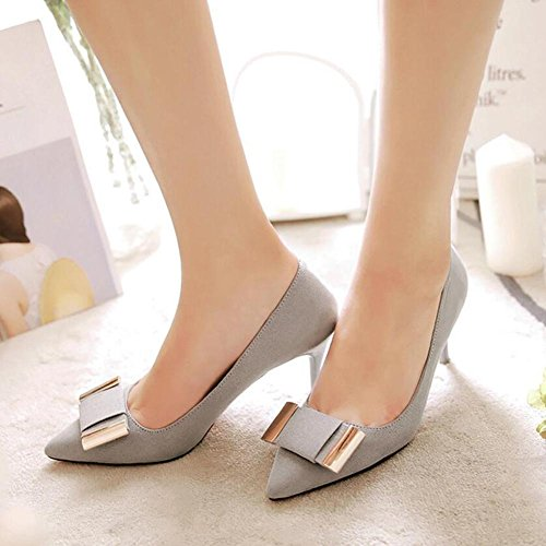 Pointed gray Femmes Shallow Bowknot Talons Woman Chaussures With à Hauts The Single Mouth Wedding Bowling Pour HIxzqxZ