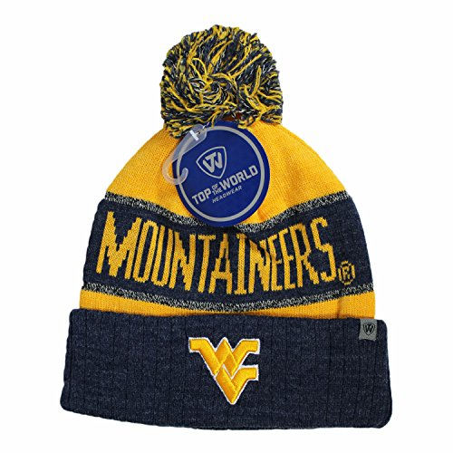 Top of the World West Virginia Mountaineers Official NCAA Cuffed Knit Belowzero Beanie Stocking Stretch Sock Hat Cap 815503
