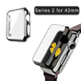 (US) Apple Watch Series 2 Case 42mm, 2win2buy Full Cover Apple Watch Series 2/Nike Case Slim Hard PC Plated Protective Bumper Cover with 0.2mm Shockproof Sheld Guard Screen Protector for iWatch 2016, Black