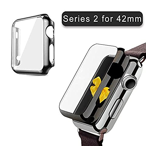 Apple Watch Series 2 Case 42mm, 2win2buy Full Cover Apple Watch Series 2/Nike Case Slim Hard PC Plated Protective Bumper Cover with 0.2mm Shockproof Sheld Guard Screen Protector for iWatch 2016, Black