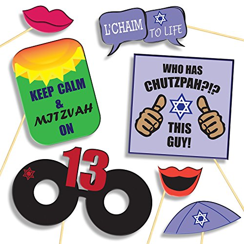 Bar Mitzvah Tefillin (Bar Mitzvah Photo Booth Props - DIY Kit: Banners, Signs, Glasses, Mustaches, Jewish Phrases, Etc - Boy, Scrapbook or Party Favors Idea - Decorations Supplies - 26 pcs for Multiple Booths )