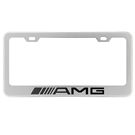Amazon.com: Deselen LP-BS17PW - Stainless Steel AMG License Plate ...