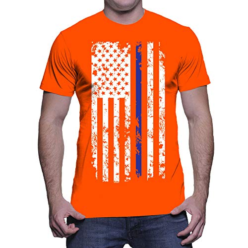 HAASE UNLIMITED Men's Thin Blue Line American Flag T-Shirt (Orange, X-Large) by HAASE UNLIMITED