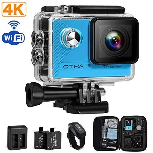 Action Camera,4K 16MP Sony Sensor WiFi Sports Camcorder Ultra HD Underwater Waterproof 98FT(30M) Video Cam ,Remote Control/2 Rechargeable Batteries/Mounting Accessories Kit OTHA