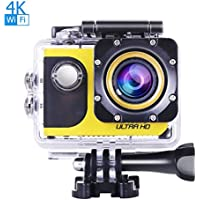 OldShark 2in1 4K WIFI Sports Action Camera and Car Dash Cam, 170 Wide Angle with SONY Sensor, Ultra HD Waterproof DV Camcorder 20MP, with 2 Rechargable Batteries, Selfie Stick and Full Accessory Kits