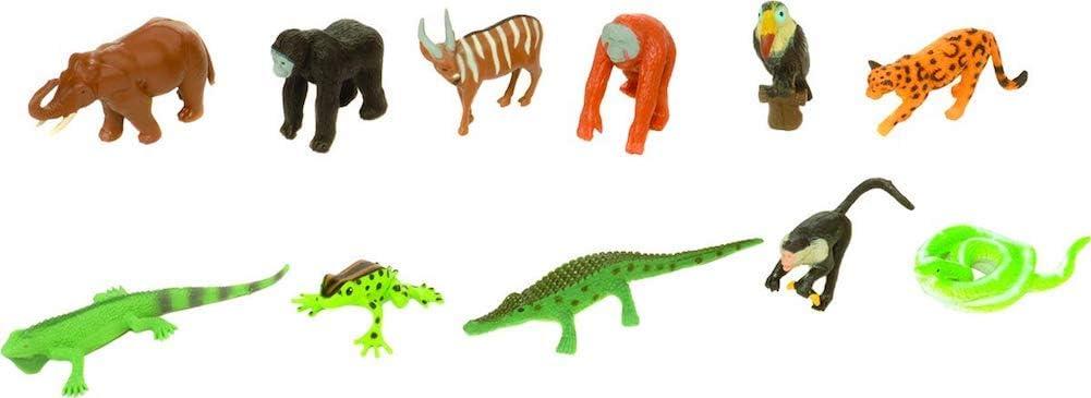 "Wild Republic Rainforest Nature Tube, Jungle Party Favors, Educational Toys for Kids, 12 Pieces, Multi, 13"" (12755)"