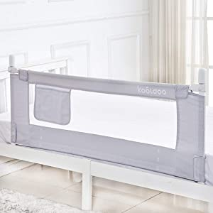 Toddlers Baby Bed Rail 59 Inches Bed Rail Guard Extra Long Safety Bedrail with Storage Pocket for Kids Twin, Double, Queen & King Size (Gray)