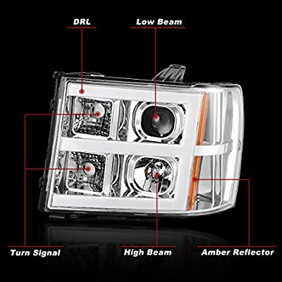 AUTOSAVER88 Headlight Assembly Compatible with 2007-2013 GMC Sierra 1500/2007-2014 Sierra 2500HD 3500HD LED Tube Projector Headlights Chrome Housing Amber Reflector, Driver & Passenger Side: Automotive