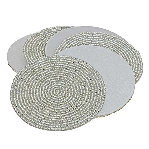 - Silver Décor Indian Handmade Beaded Coffee Tea Placemat 4 Inches Set of 6