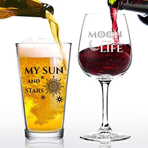 - Moon of My Life My Sun and Stars Wine and Beer Glass Set for GOT Fan Couples- 12.75 oz Wine Glass & 16 oz Beer Pint Glass- Present for Mom and Dad- Inspired by GOT- Husband Wife Gift
