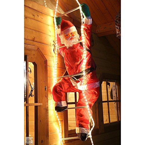 Weihnachtsmann auf Leiter 120/240cm mit LED beleuchtet innen/außen von Gartenpirat®