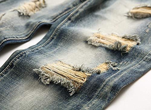 Uomo Jeans Dritti Da Con Attillati Denim Media Abbigliamento E Blu Pantaloni Vita A Strappati WTpFEgn5n